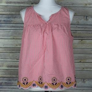 Madewell Embroidered Gingham Plaid Tank Top H8284